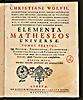 Christian Wolff: Elementa matheseos universae, tomus tertius