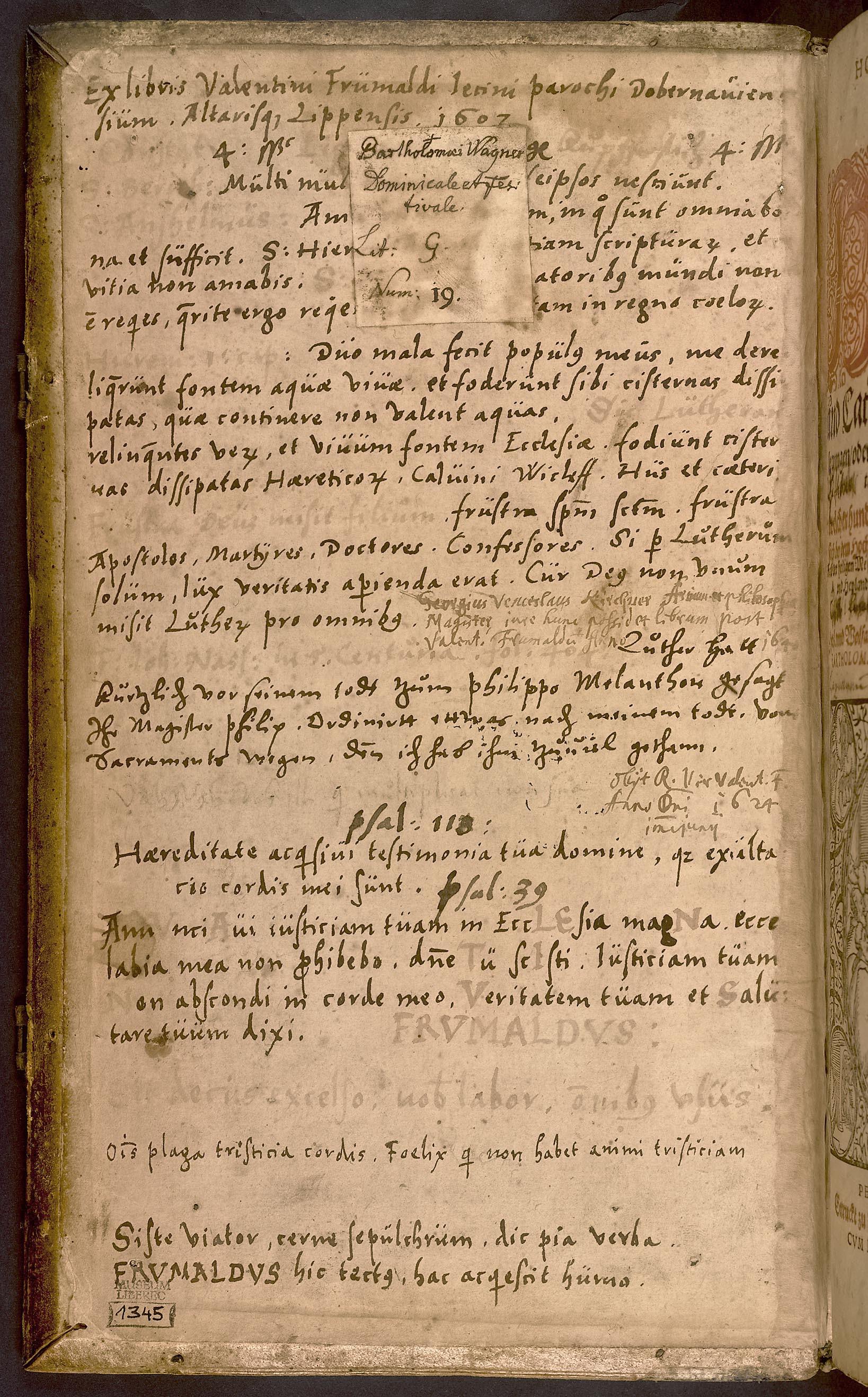 Bartholomäus Wagner: Homiliarum centuria de tempore et sanctis, s poznámkami Valentina Frümalda